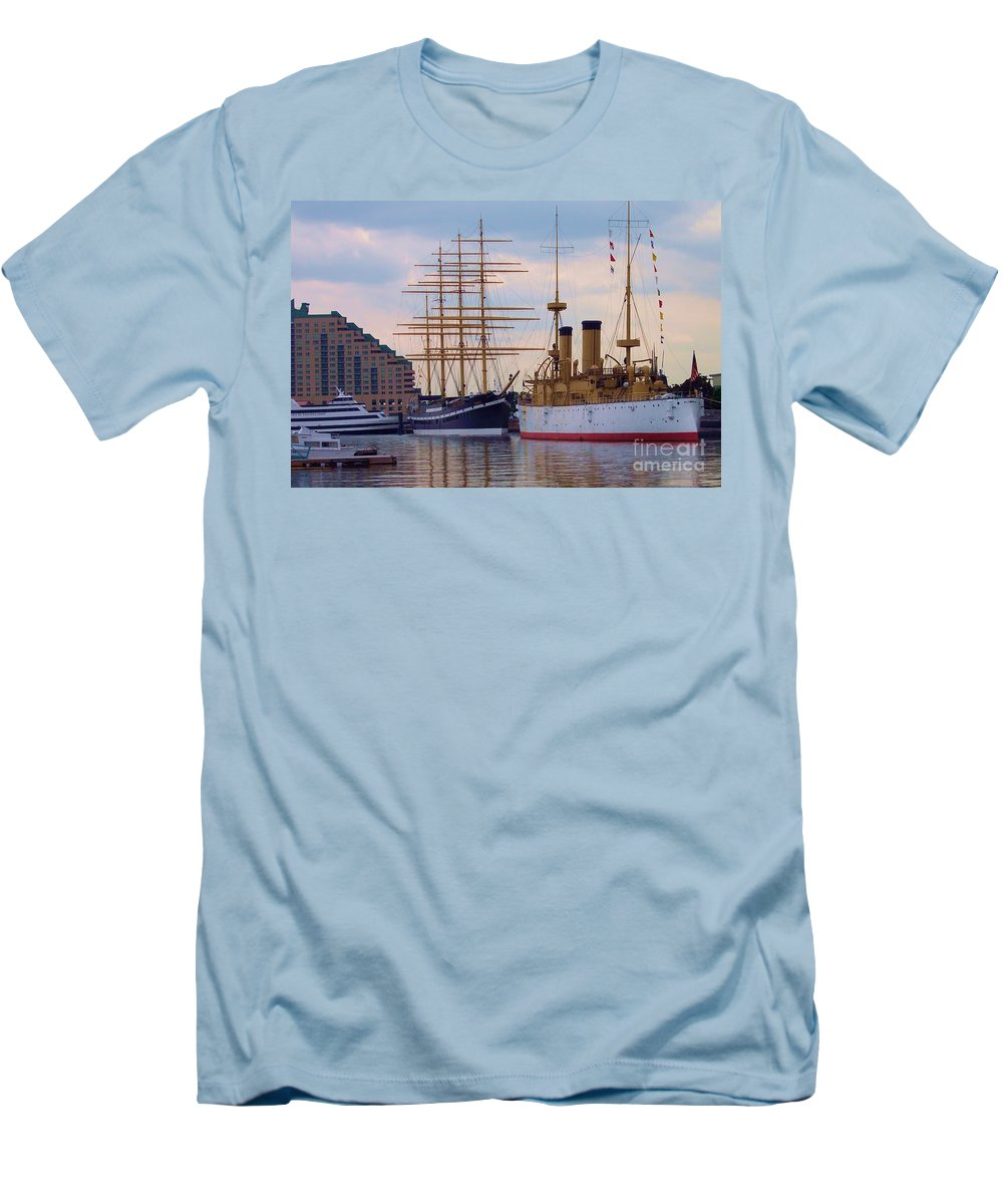 Philadelphia Men's T-Shirt (Athletic Fit) featuring the photograph Philadelphia Waterfront Olympia by Debbi Granruth