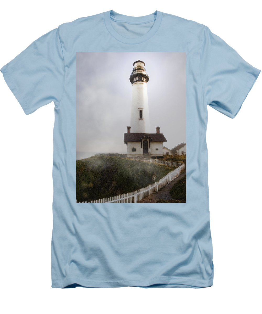 Ocean Men's T-Shirt (Athletic Fit) featuring the photograph Pigeon Point Lighthouse by Karen W Meyer
