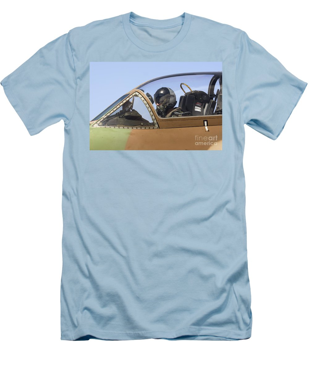 Aircraft Men's T-Shirt (Athletic Fit) featuring the photograph Pilot In The Cockpit Of A Skyhawk Fighter Jet by Nir Ben-Yosef