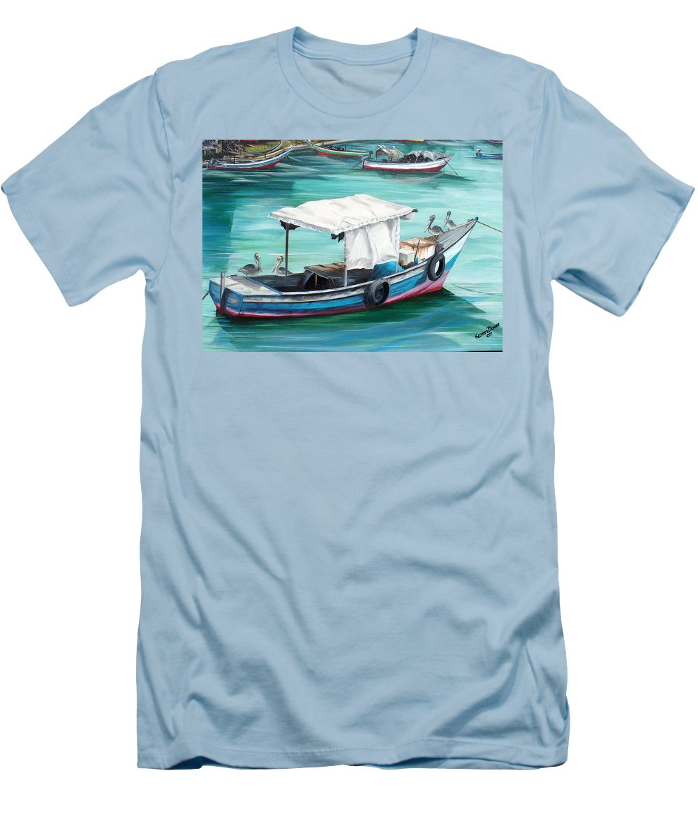 Fishing Boat Painting Seascape Ocean Painting Pelican Painting Boat Painting Caribbean Painting Pirogue Oil Fishing Boat Trinidad And Tobago Men's T-Shirt (Athletic Fit) featuring the painting Pirogue Fishing Boat by Karin Dawn Kelshall- Best