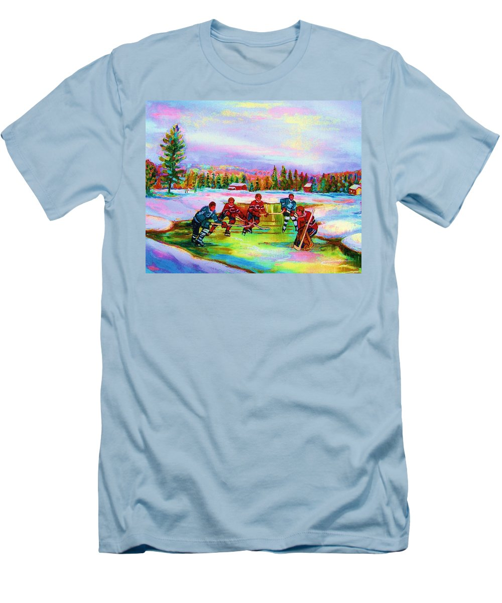 Hockey Men's T-Shirt (Athletic Fit) featuring the painting Pond Hockey Blue Skies by Carole Spandau