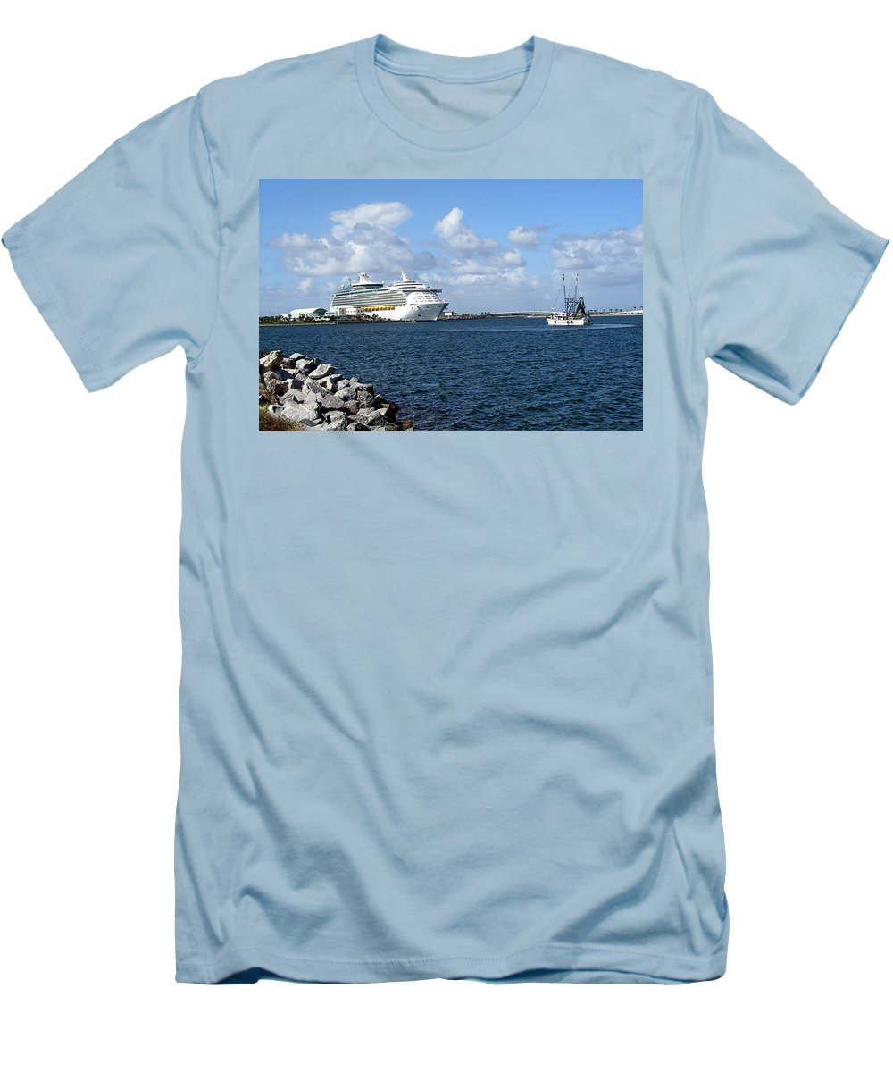Cruise; Ships; Cruiseship; Ocean; Liner; Oceanliner; Port; Canaveral; Florida; Harbor; Harbour; Blue Men's T-Shirt (Athletic Fit) featuring the photograph Port Canaveral In Floirda by Allan Hughes