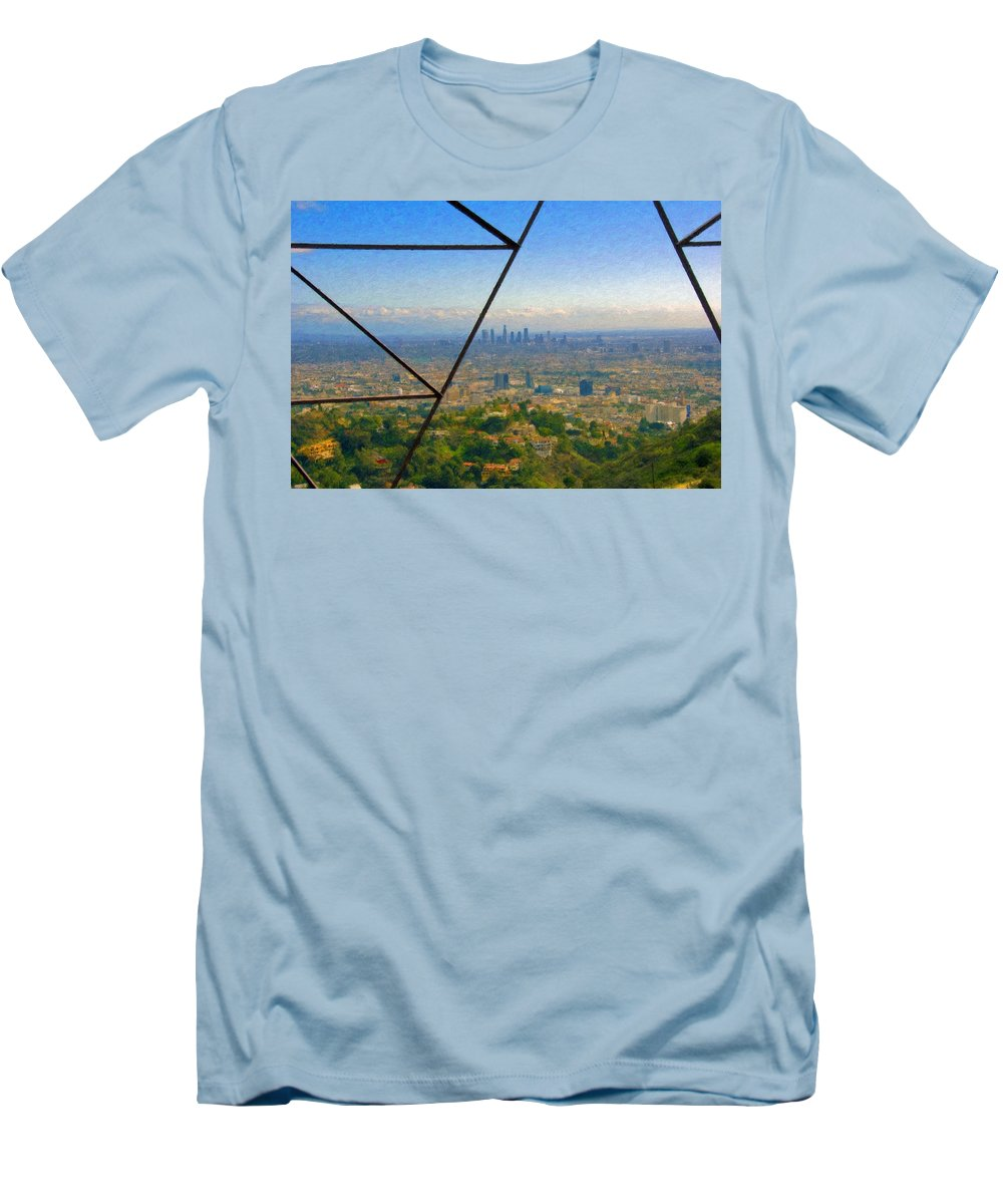 Power Lines Los Angeles Skyline Men's T-Shirt (Athletic Fit) featuring the photograph Power Lines Los Angeles Skyline by David Zanzinger