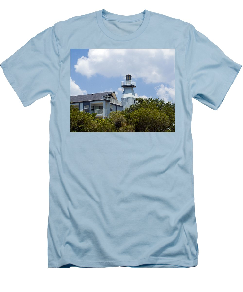 Light; Lighthouse; Private; Beacon; Keeper; Harbor; Harbour; Sail; Sailing; Boats; Boat; Craft; Anch Men's T-Shirt (Athletic Fit) featuring the photograph Private Lighthouse On The Indian River Lagoon In Melbourne Florida by Allan Hughes