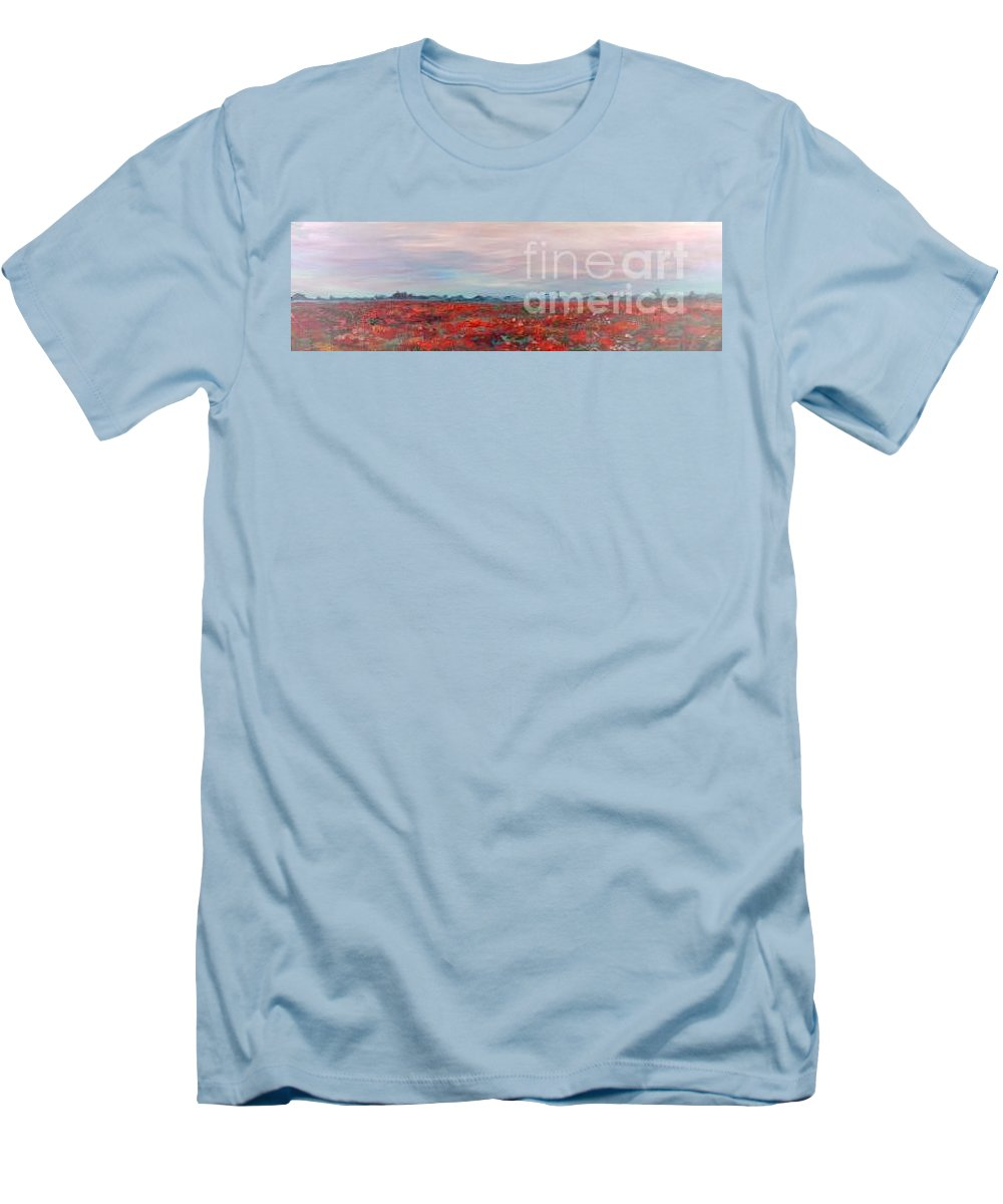 Poppies Men's T-Shirt (Athletic Fit) featuring the painting Provence Poppies by Nadine Rippelmeyer