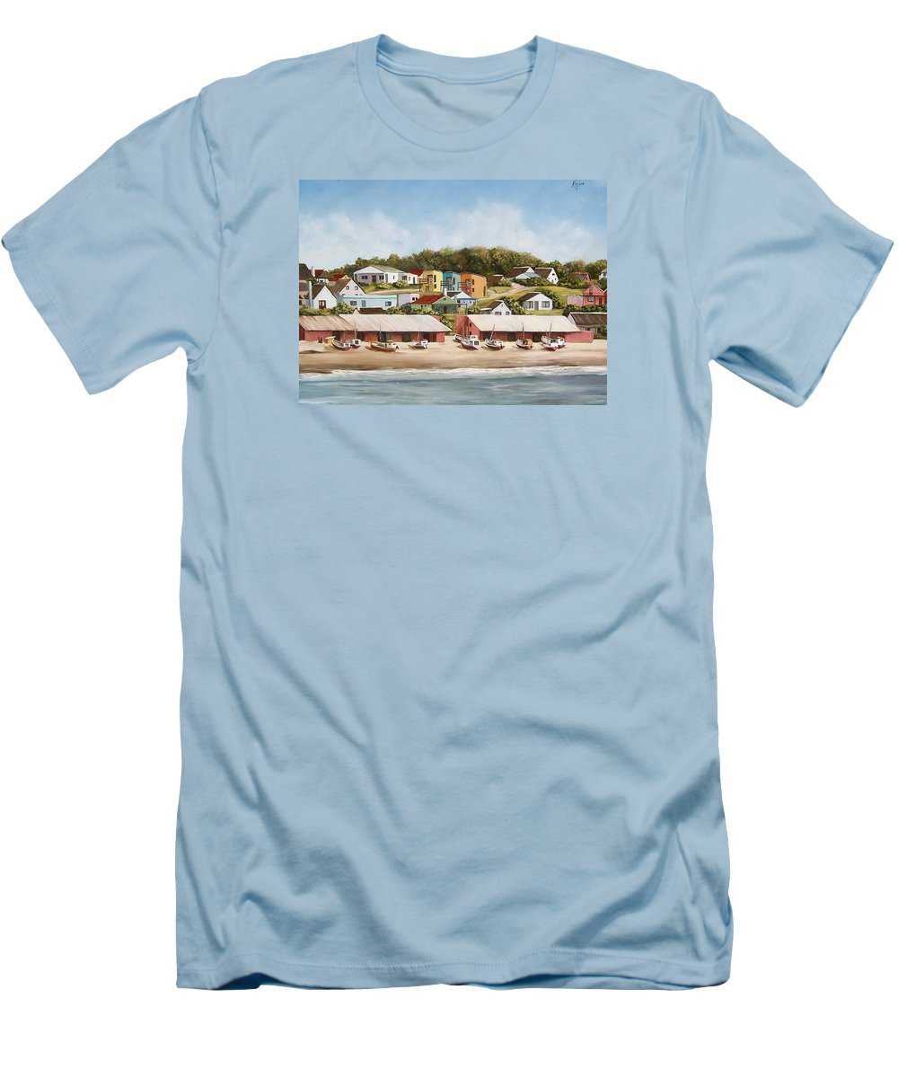 Landscape Seascape Uruguay Sea Seaside Boats Men's T-Shirt (Athletic Fit) featuring the painting Punta Del Diablo 2 by Natalia Tejera