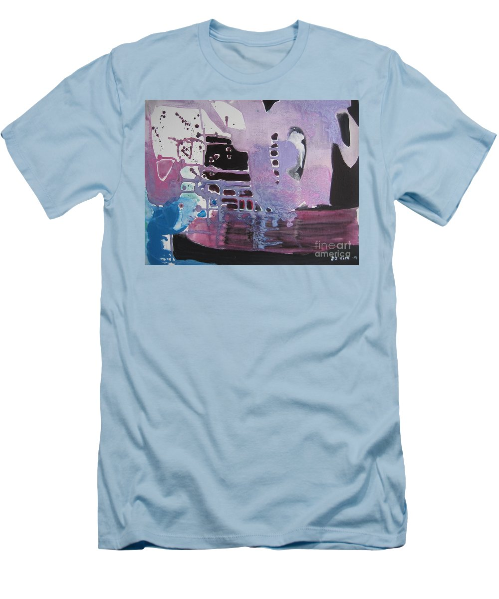 Abstract Paintings Men's T-Shirt (Athletic Fit) featuring the painting Purple Seascape by Seon-Jeong Kim