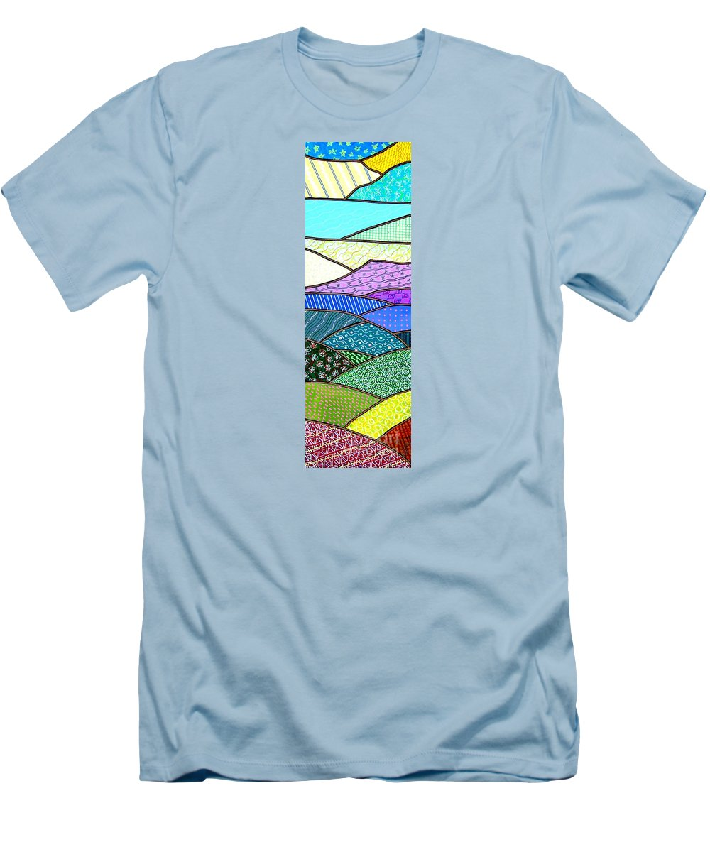 Mountain Men's T-Shirt (Athletic Fit) featuring the painting Quilted Mountain by Jim Harris