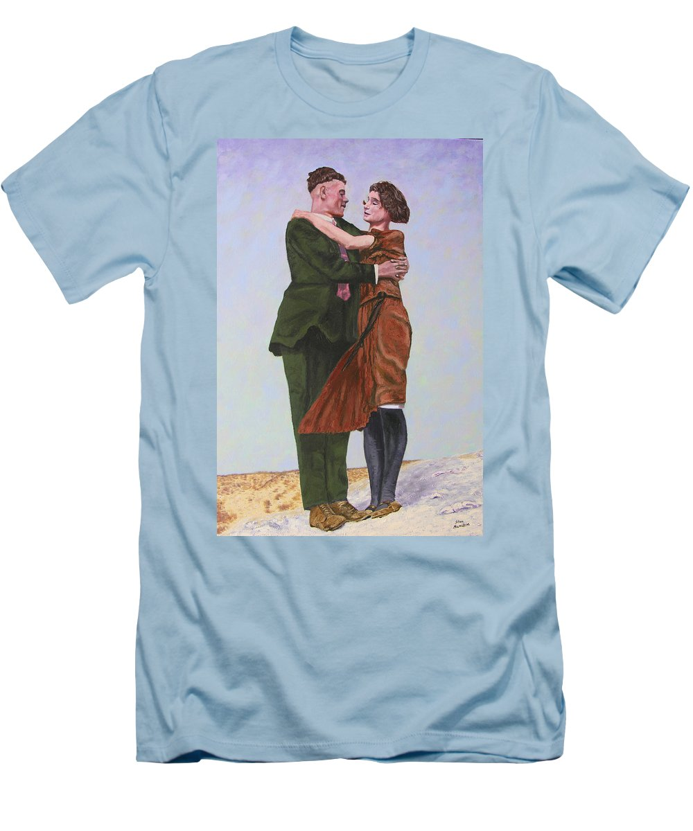 Double Portrait Men's T-Shirt (Athletic Fit) featuring the painting Ray And Isabel by Stan Hamilton