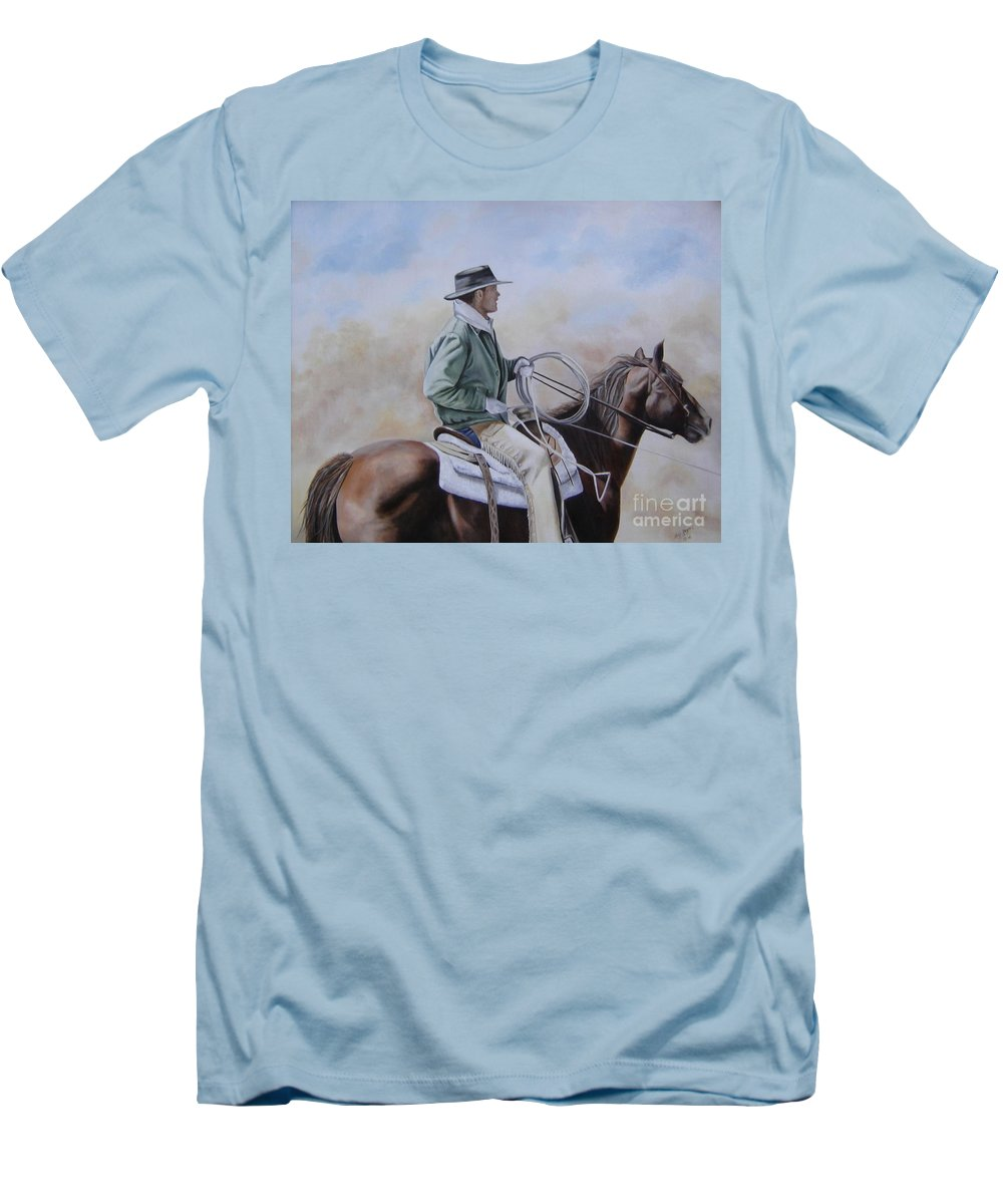Ranch Men's T-Shirt (Athletic Fit) featuring the painting Ready To Rope by Mary Rogers