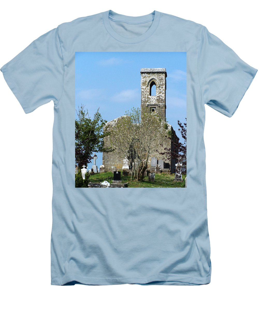 Fuerty Men's T-Shirt (Athletic Fit) featuring the photograph Rear View Fuerty Church And Cemetery Roscommon Ireland by Teresa Mucha