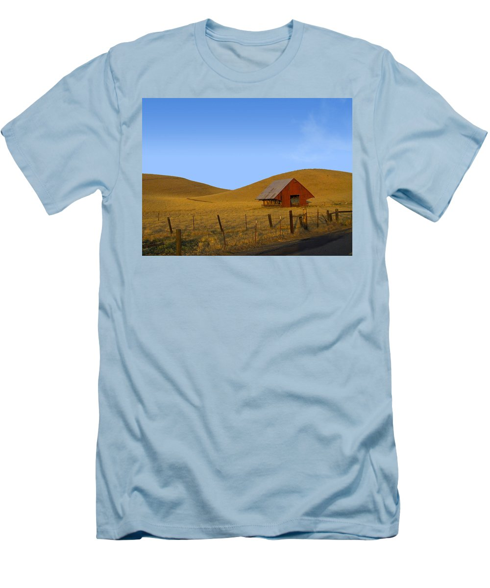 Landscape Men's T-Shirt (Athletic Fit) featuring the photograph Red Barn Summer by Karen W Meyer