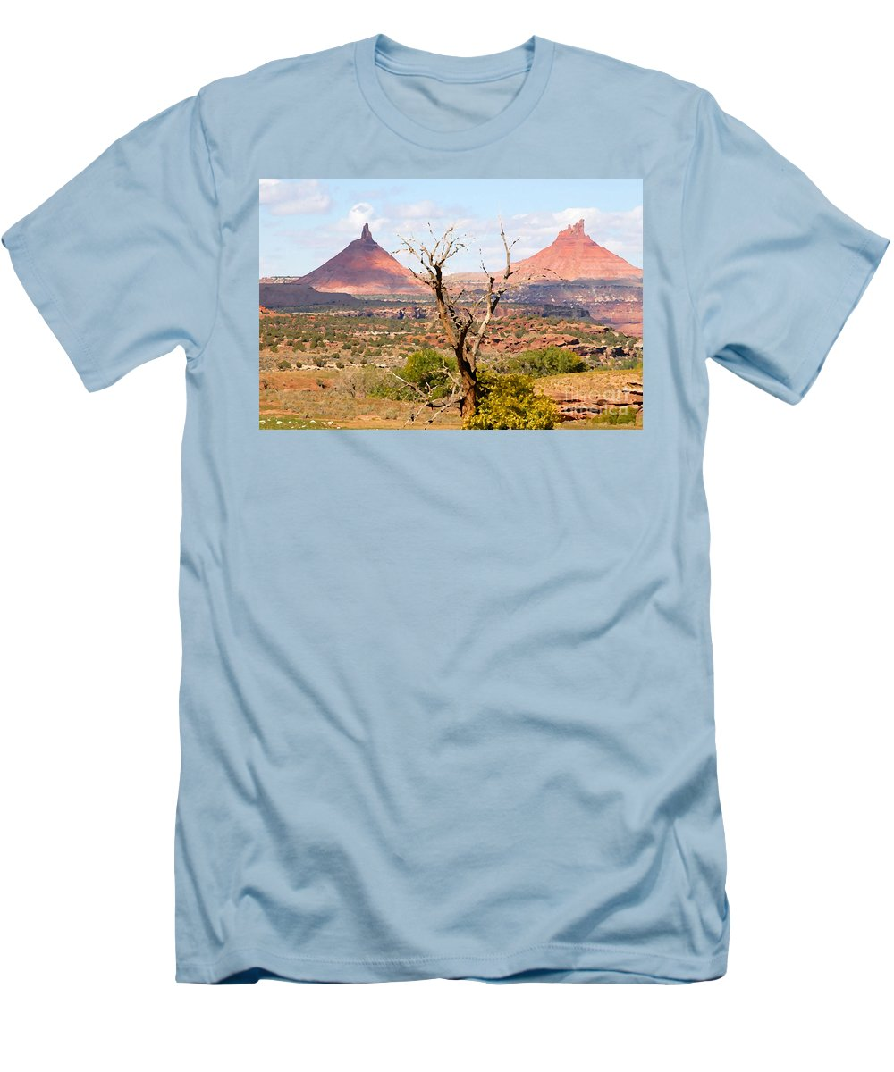 Buttes Men's T-Shirt (Athletic Fit) featuring the photograph Red Buttes by David Lee Thompson