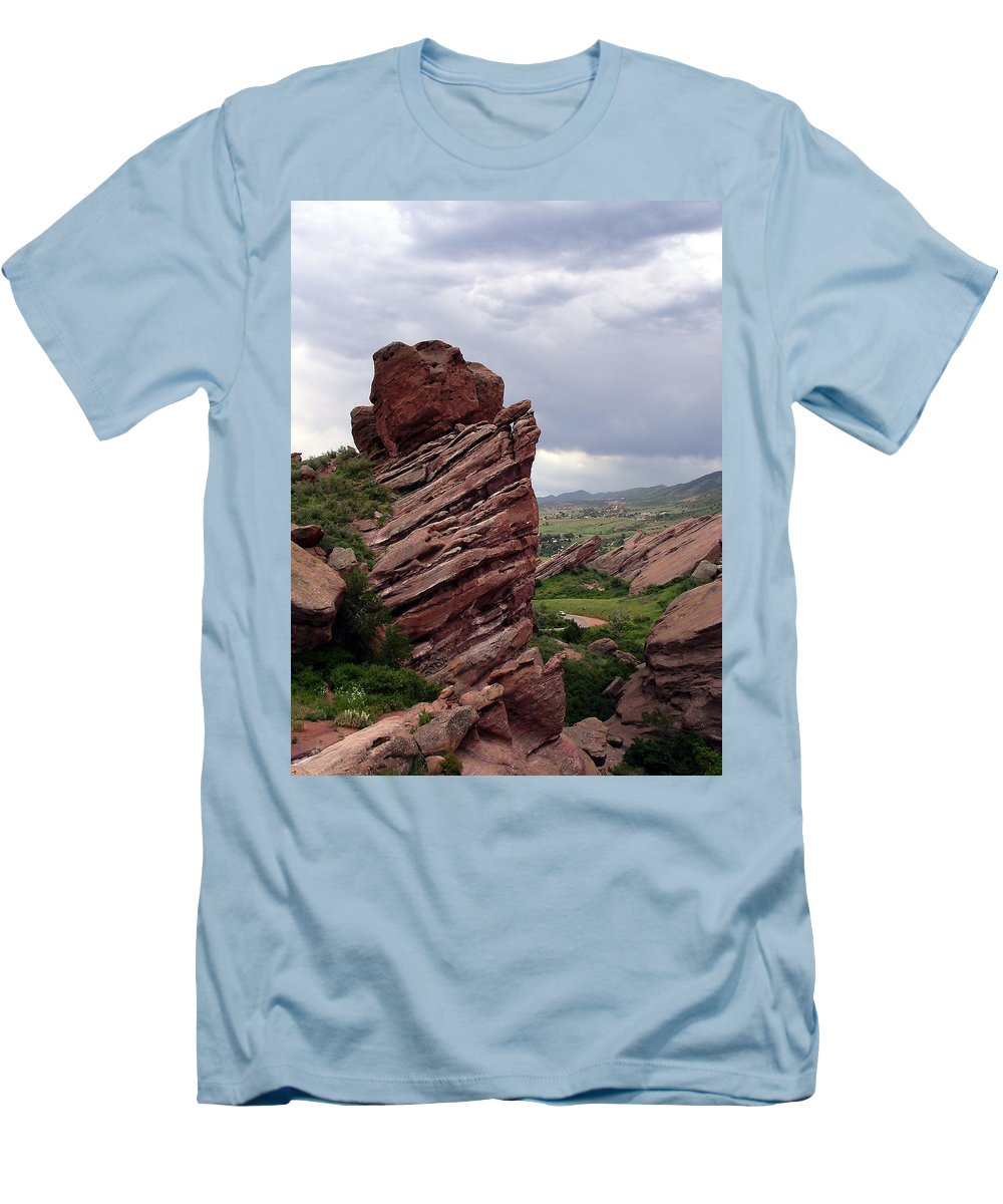 Red Rocks Men's T-Shirt (Athletic Fit) featuring the photograph Red Rocks Colorado by Merja Waters