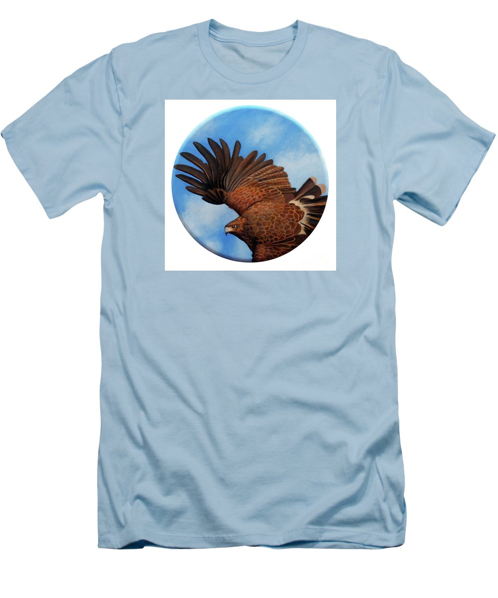 Hawk Men's T-Shirt (Athletic Fit) featuring the painting Riding The Wind by Brian Commerford