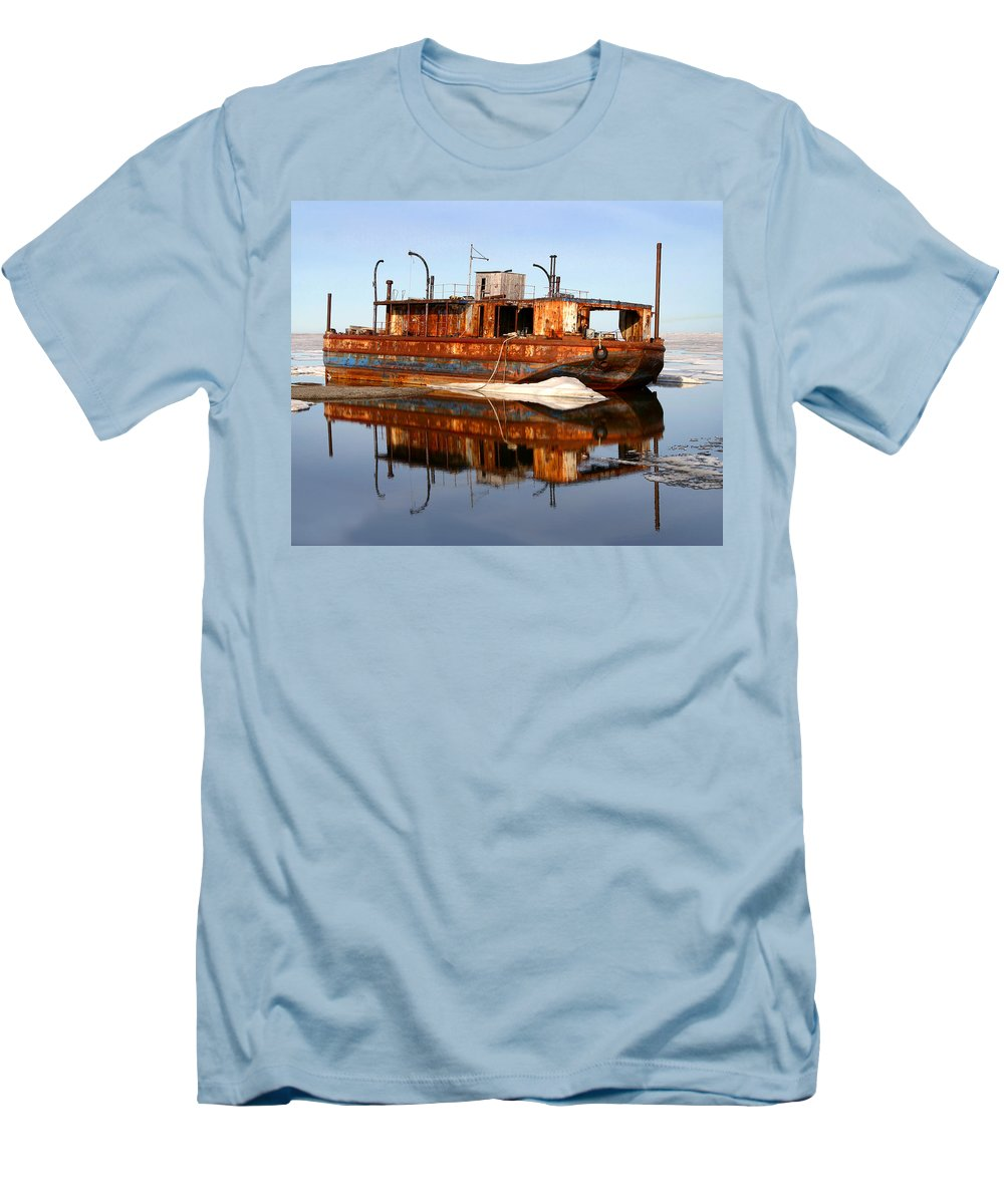 Boat Men's T-Shirt (Athletic Fit) featuring the photograph Rusty Barge by Anthony Jones