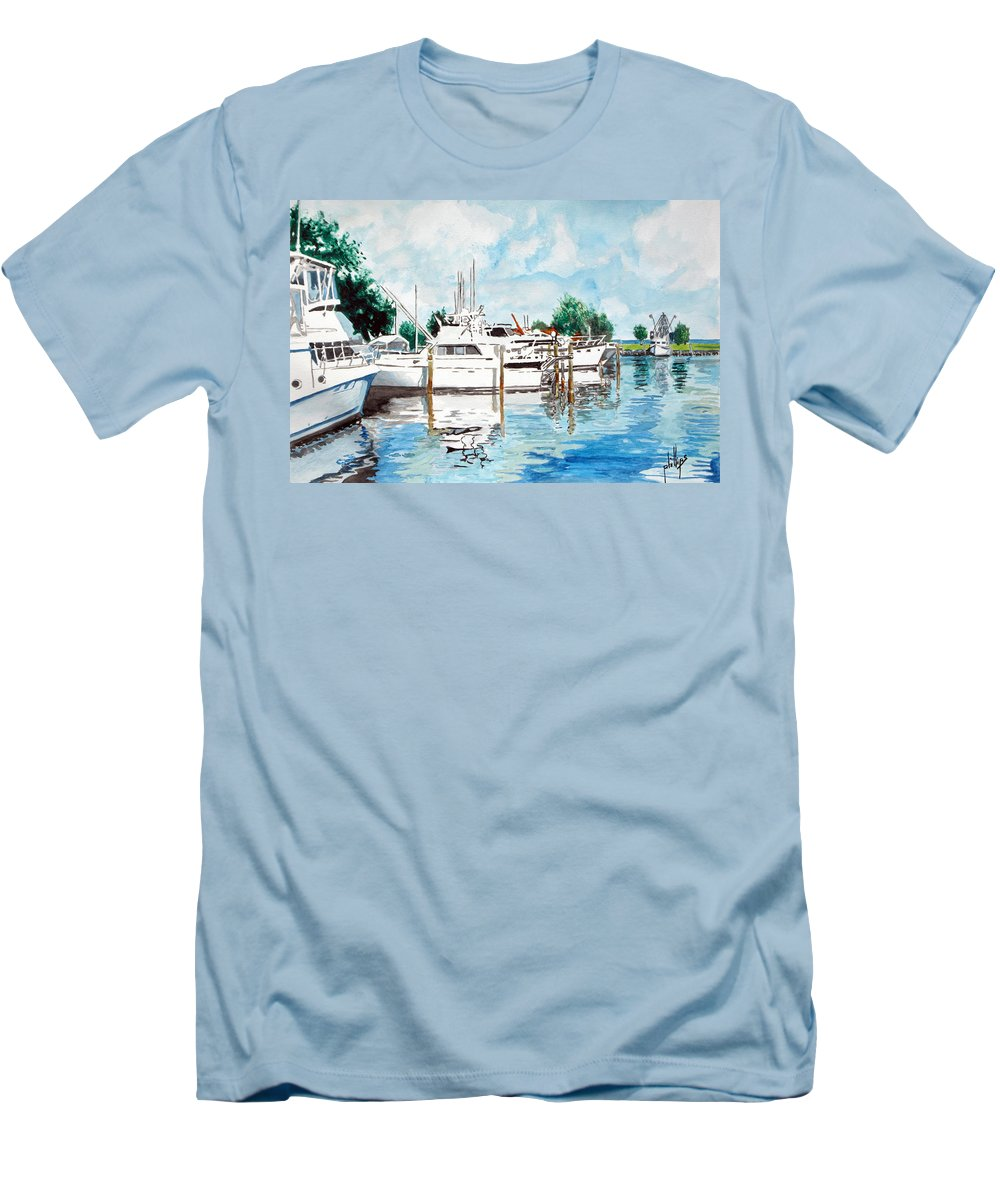 Boats Harbor Coastal Nautical Men's T-Shirt (Athletic Fit) featuring the painting Safe Harbor by Jim Phillips