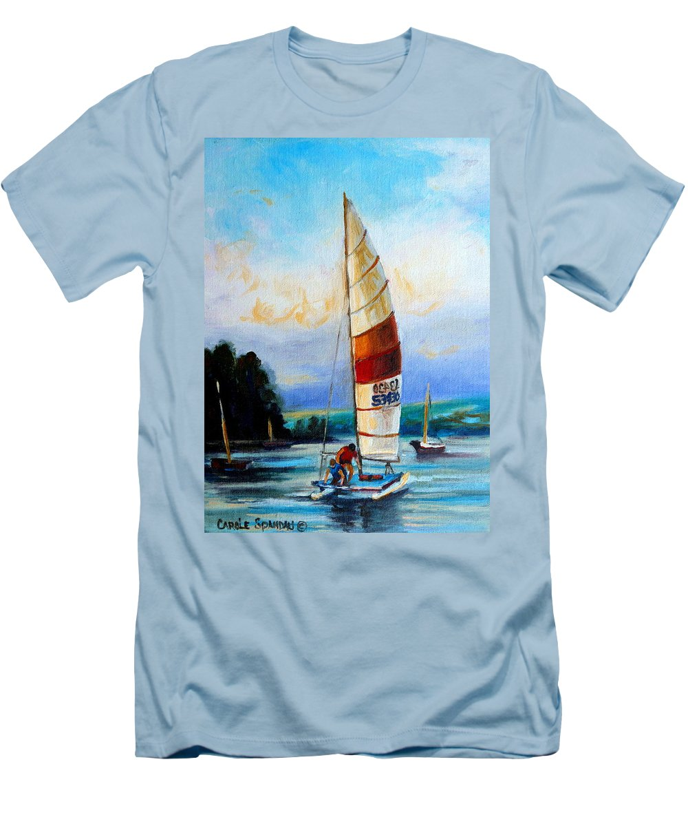 Sail Boats On The Lake Men's T-Shirt (Athletic Fit) featuring the painting Sail Boats On The Lake by Carole Spandau