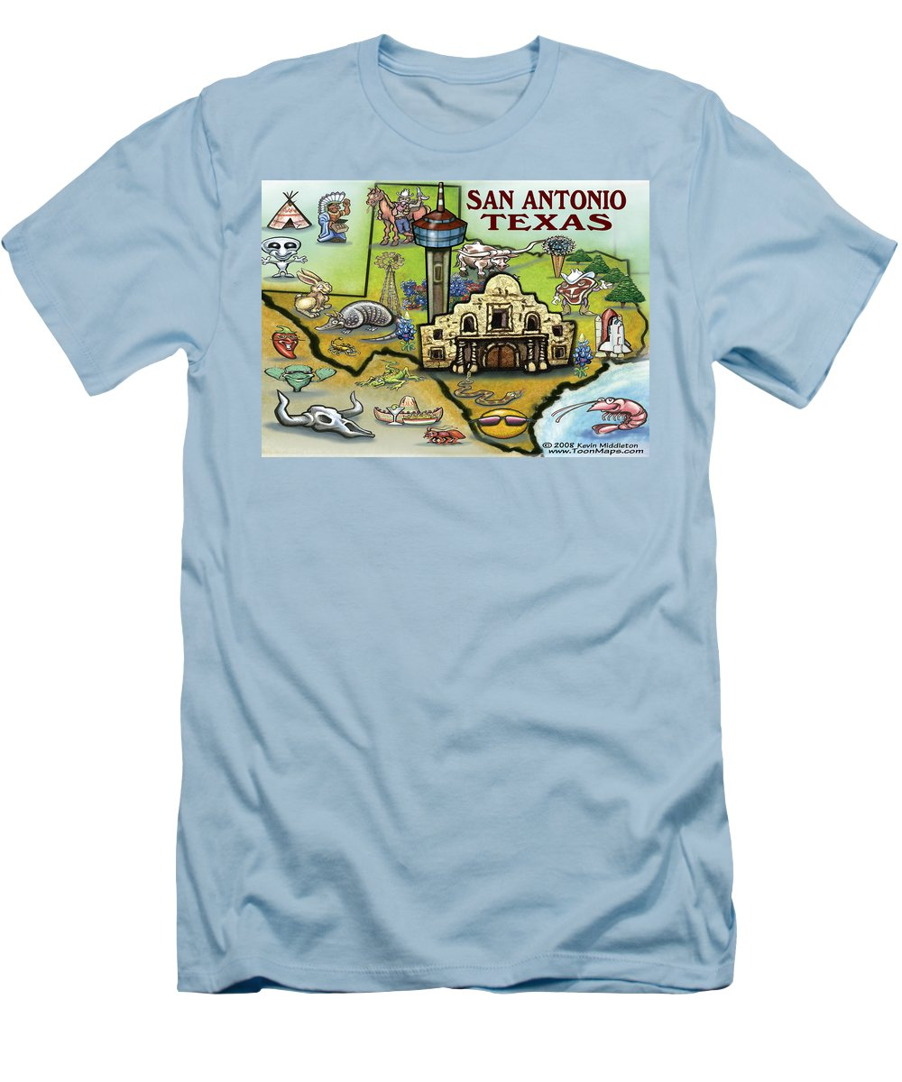 San Antonio Men's T-Shirt (Athletic Fit) featuring the digital art San Antonio Texas by Kevin Middleton