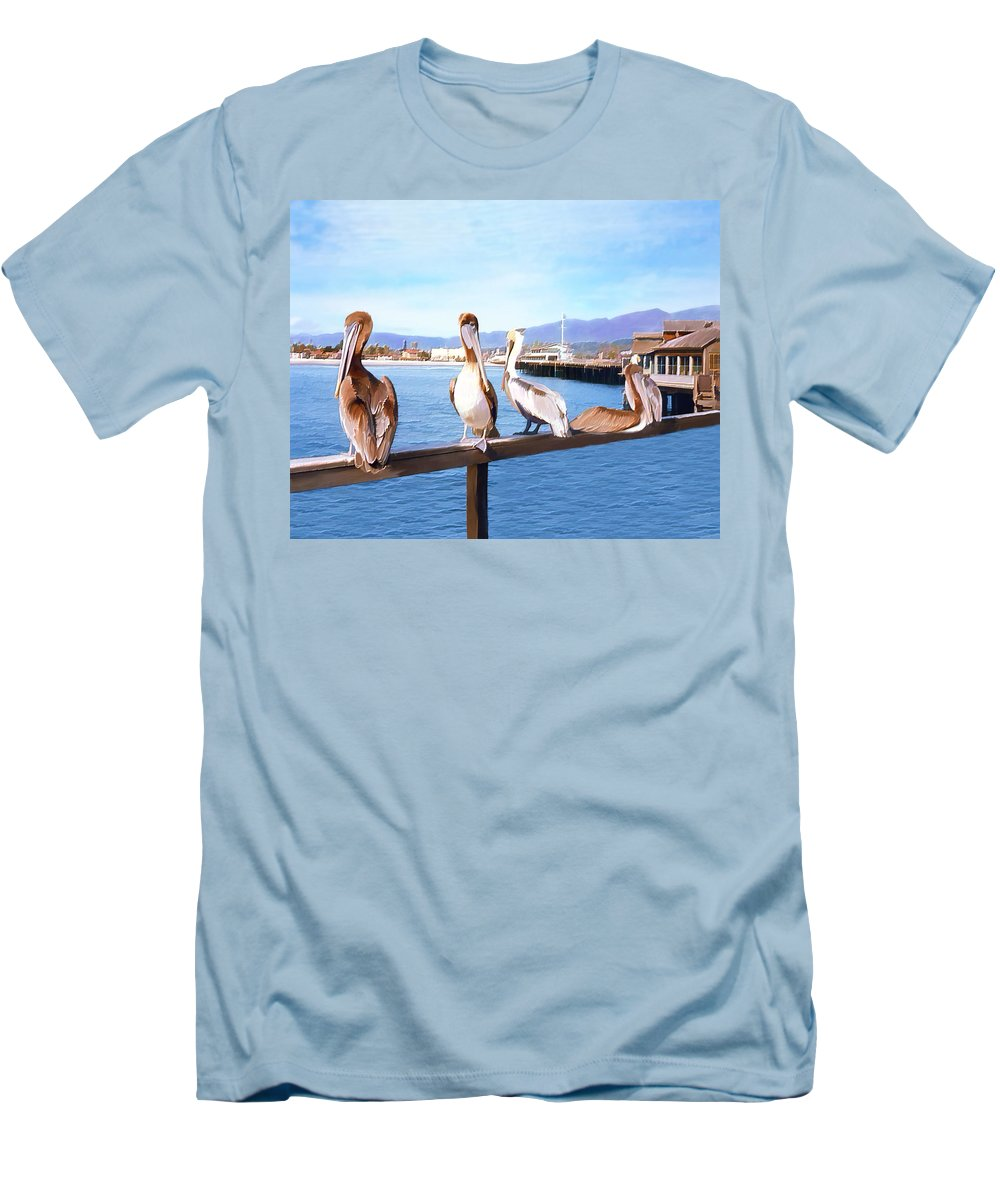 Harbor Men's T-Shirt (Athletic Fit) featuring the photograph Santa Barbara Pelicans by Kurt Van Wagner