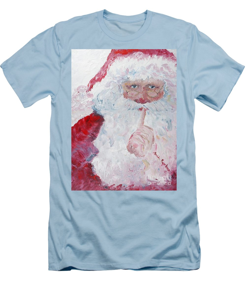 Santa Men's T-Shirt (Athletic Fit) featuring the painting Santa Shhhh by Nadine Rippelmeyer