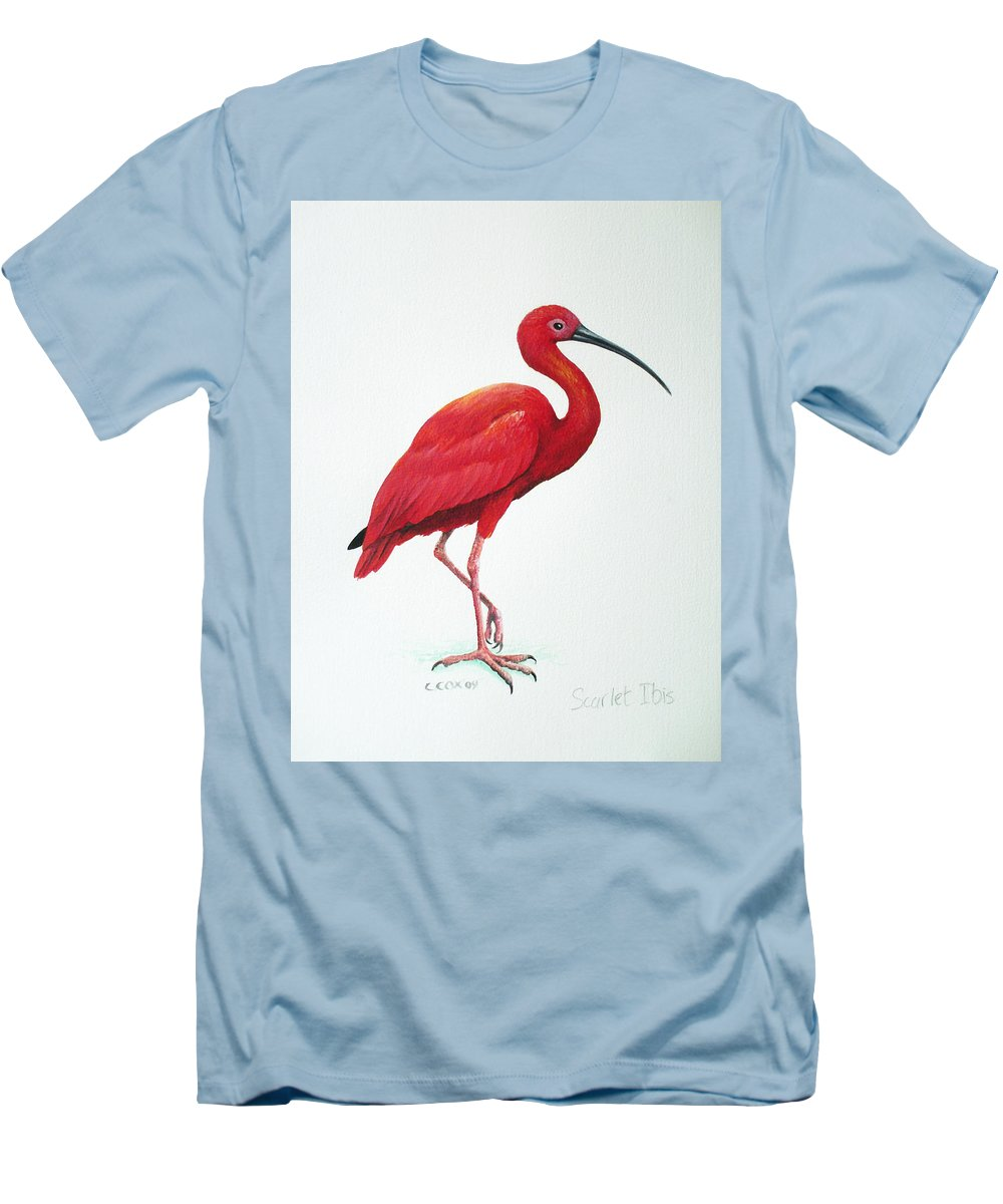 Scarlet Ibis Men's T-Shirt (Athletic Fit) featuring the painting Scarlet Ibis by Christopher Cox