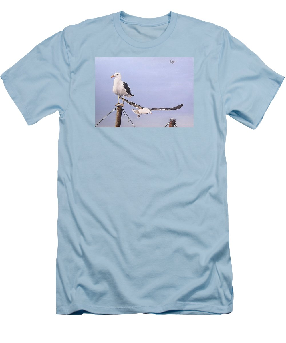 Seascape Gulls Bird Sea Men's T-Shirt (Athletic Fit) featuring the painting Seagulls by Natalia Tejera