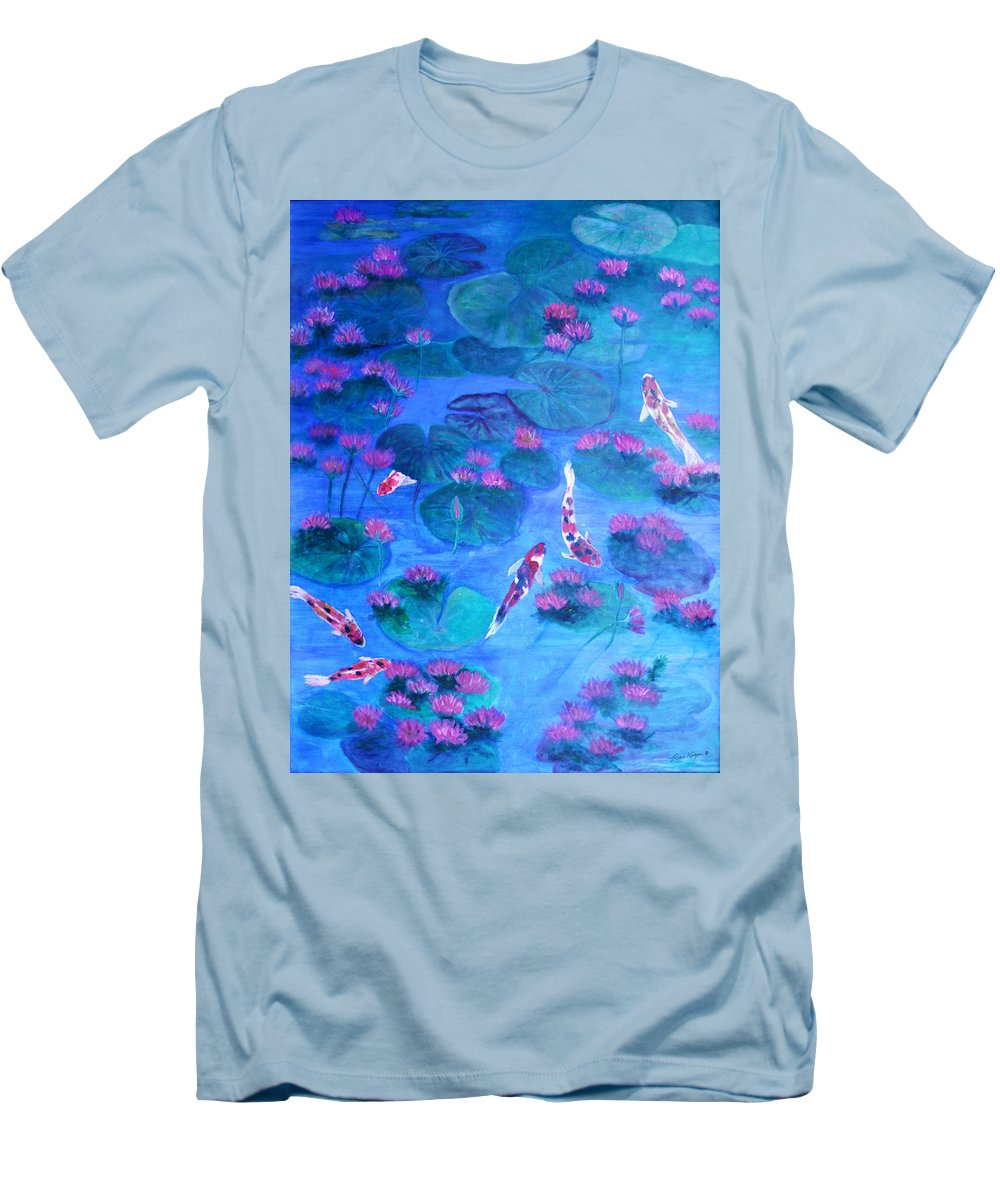 Lily Pads Men's T-Shirt (Athletic Fit) featuring the painting Serene Pond by Ben Kiger