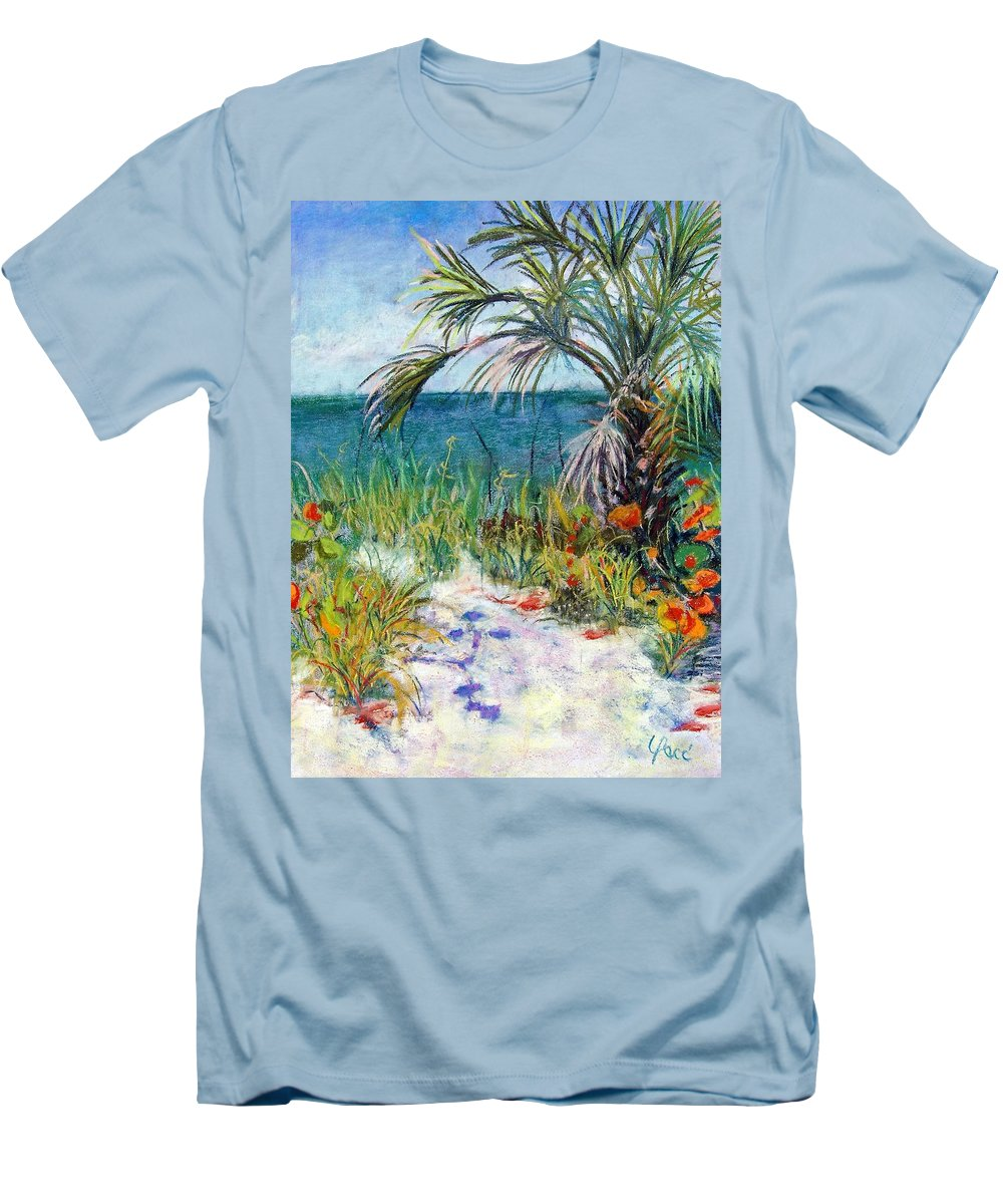 Wiggins Pass Men's T-Shirt (Athletic Fit) featuring the painting Sitting At Wiggins Pass by Laurie Paci