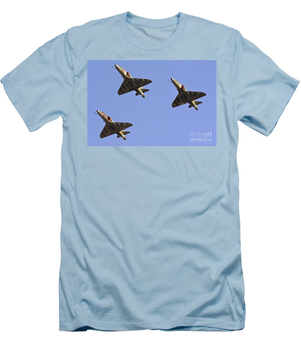 Aircraft Men's T-Shirt (Athletic Fit) featuring the photograph Skyhawk Fighter Jet In Formation by Nir Ben-Yosef