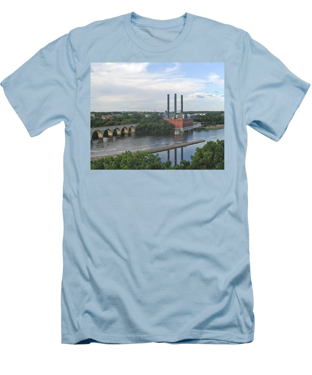 Minneapolis Men's T-Shirt (Athletic Fit) featuring the photograph Smokestacks On The Mississippi by Tom Reynen