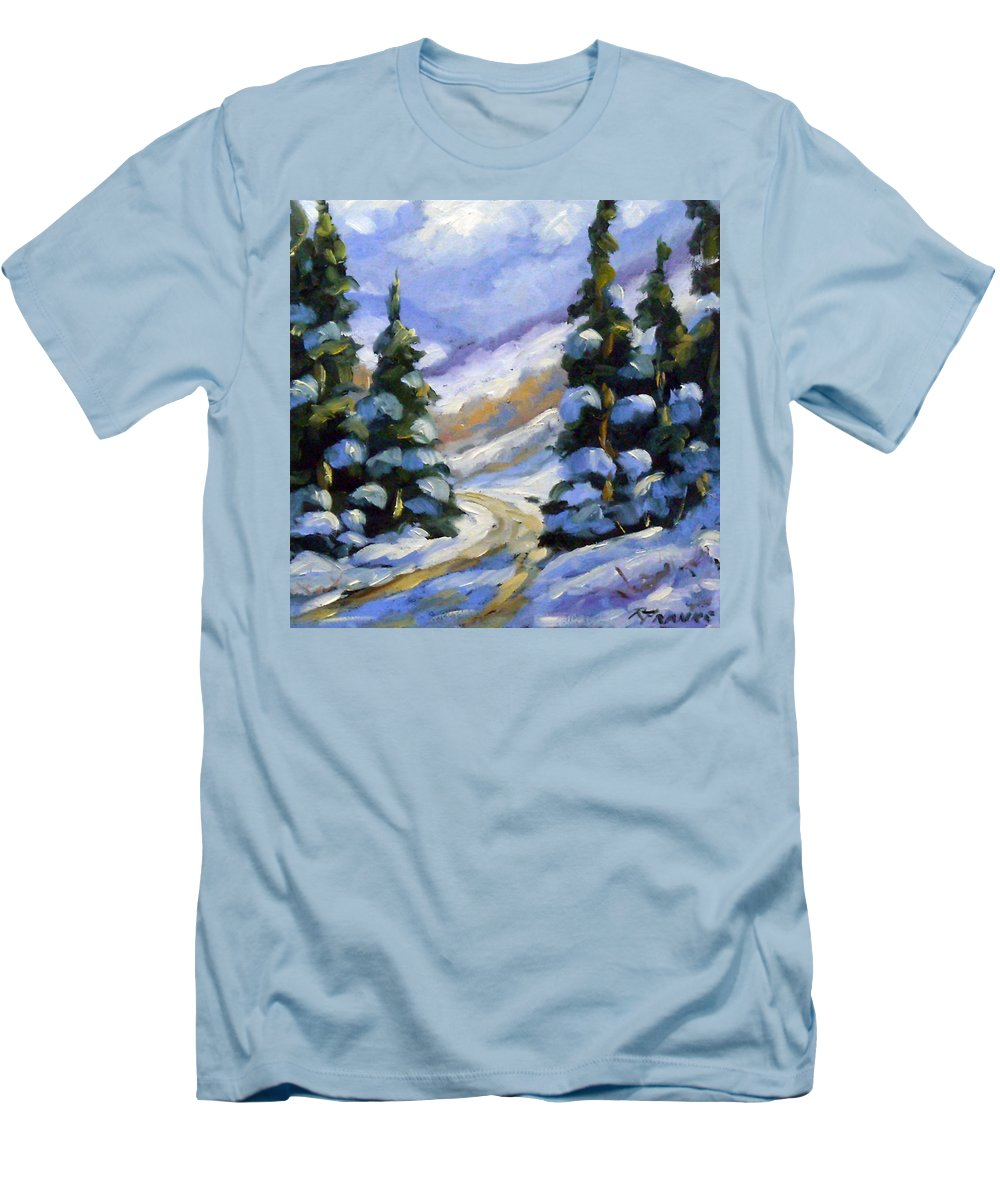 Art Men's T-Shirt (Athletic Fit) featuring the painting Snow Laden Pines by Richard T Pranke