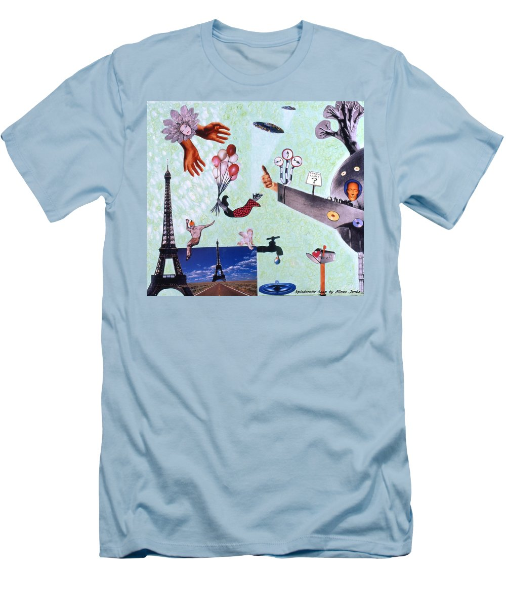 Eiffel Tower Men's T-Shirt (Athletic Fit) featuring the drawing Soap Scene #27 Zelestial Headquarters by Minaz Jantz