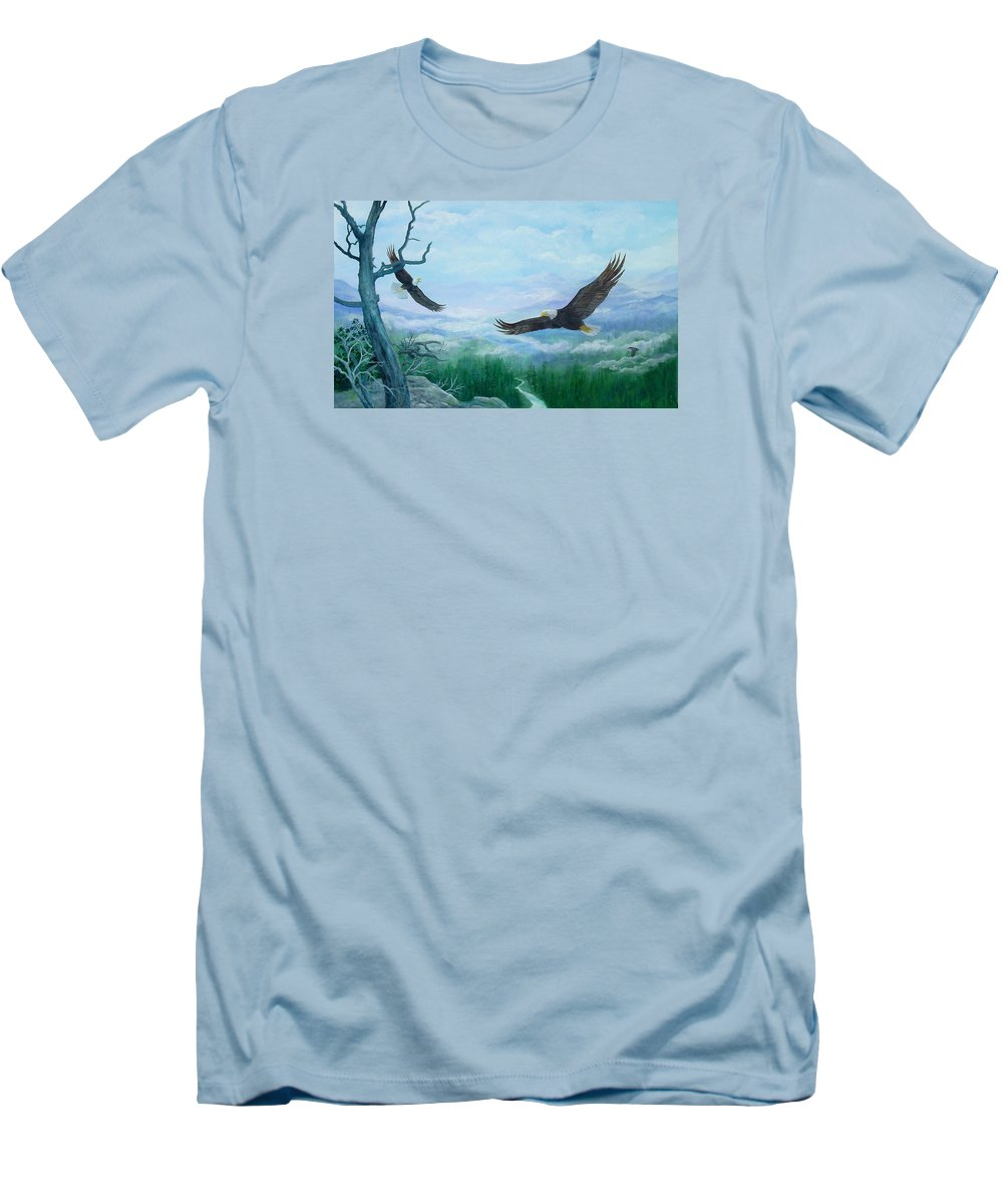 Eagles;birds;river Valley;mountains;sky; Men's T-Shirt (Athletic Fit) featuring the painting Soaring by Lois Mountz