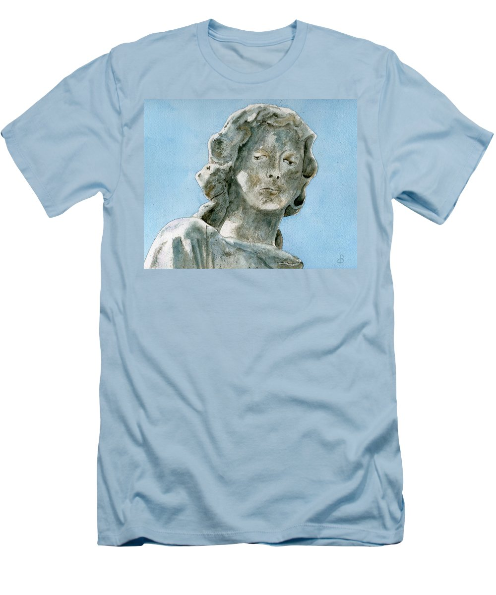 Portrait Watercolor Cemetery Statue Sky Woman Men's T-Shirt (Athletic Fit) featuring the painting Solitude. A Cemetery Statue by Brenda Owen
