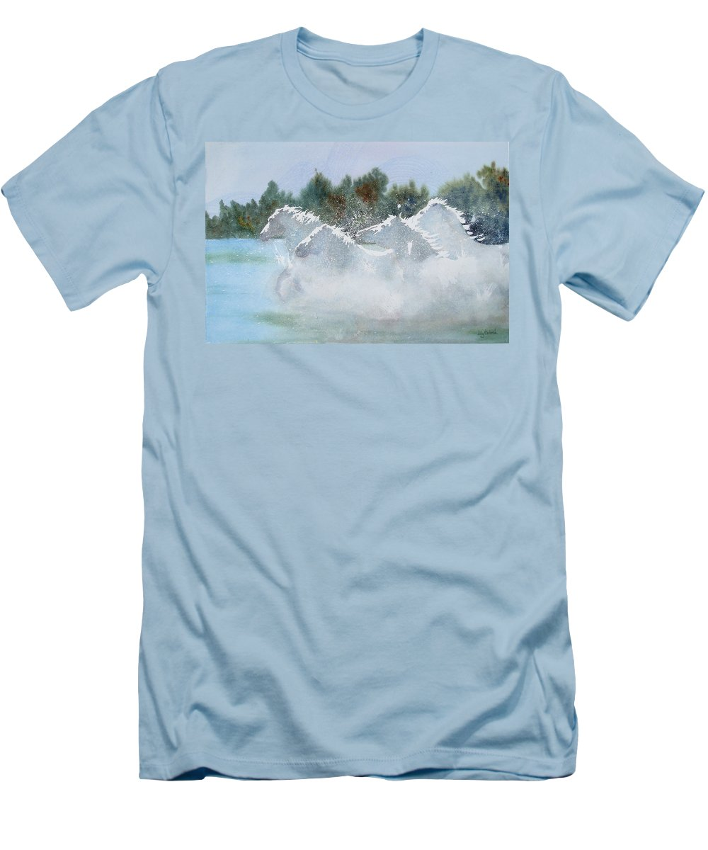 Horse Men's T-Shirt (Athletic Fit) featuring the painting Splash 1 by Ally Benbrook
