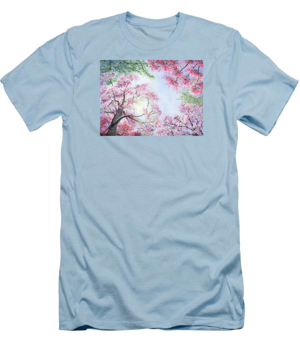 Tree Blossoms Men's T-Shirt (Athletic Fit) featuring the painting Spring Blossoms by Lynn Quinn