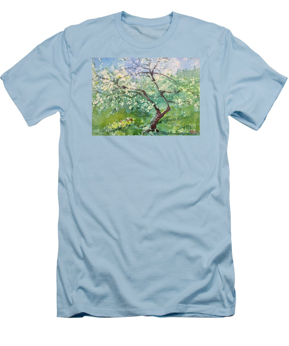 Plum Tree Men's T-Shirt (Athletic Fit) featuring the painting Spring Plum by Elizabeth Carr