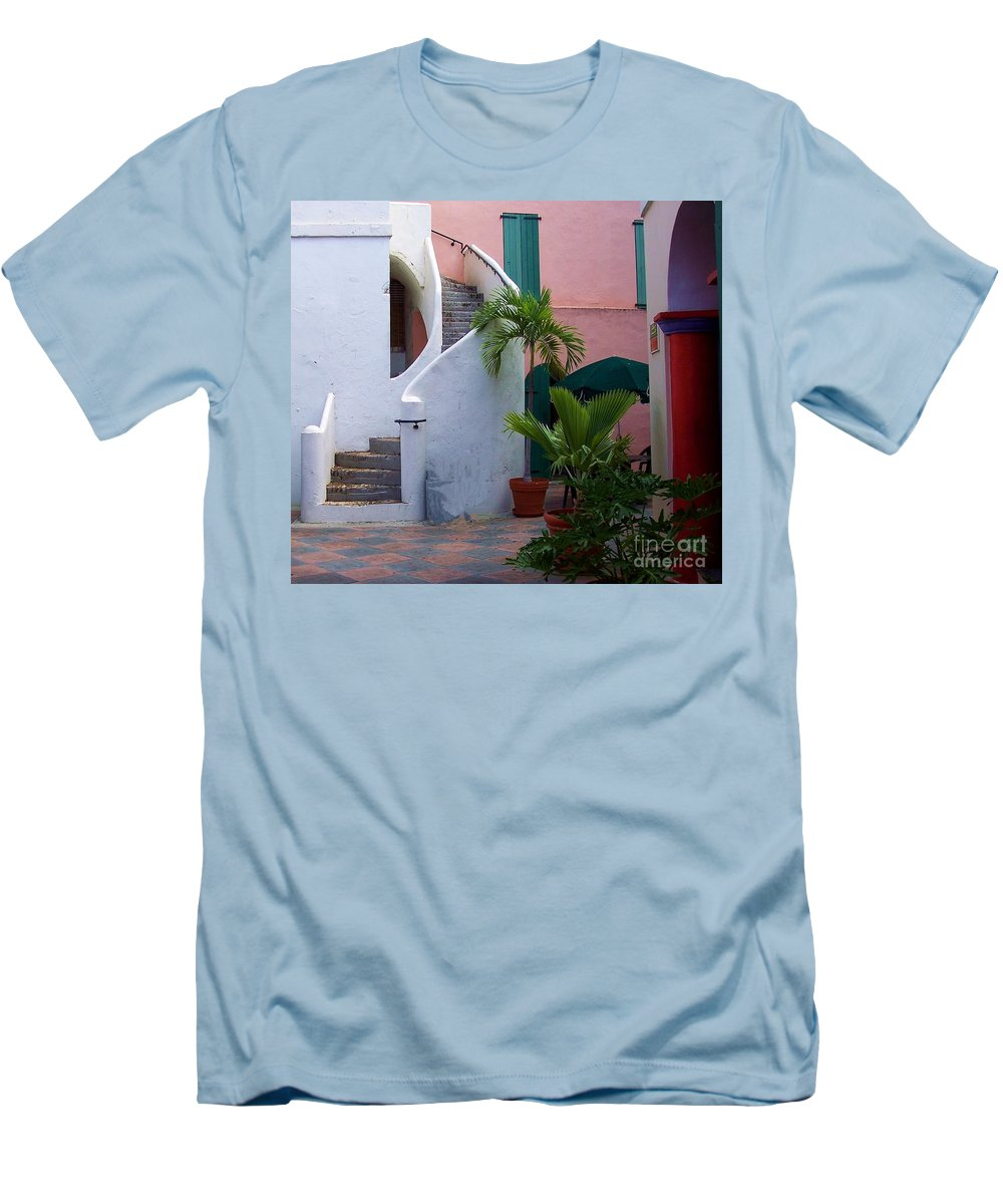 Architecture Men's T-Shirt (Athletic Fit) featuring the photograph St. Thomas Courtyard by Debbi Granruth