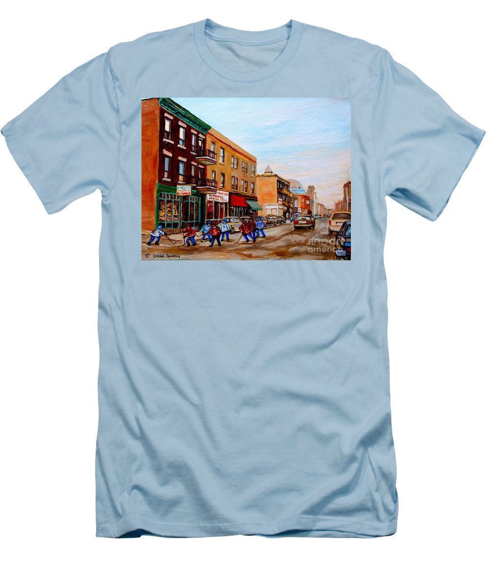 St.viateur Bagel Men's T-Shirt (Athletic Fit) featuring the painting St. Viateur Bagel Hockey Game by Carole Spandau