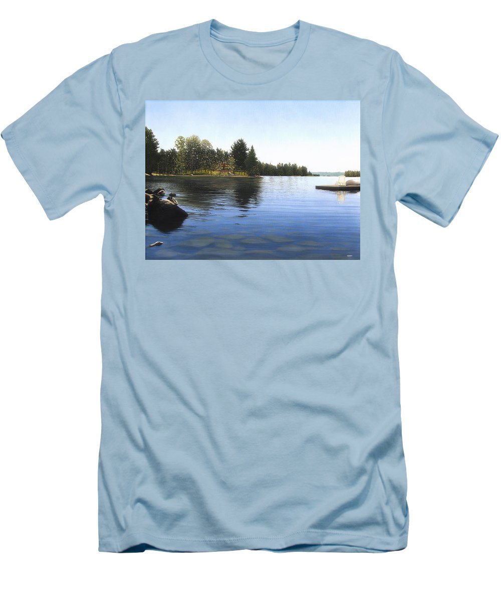Landscapes Men's T-Shirt (Athletic Fit) featuring the painting Stoney Lake by Kenneth M Kirsch