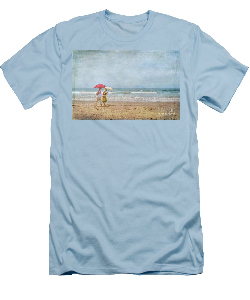 Two Elderly Women Strolling On Beach Shaded By Colorful Umbrellas Men's T-Shirt (Athletic Fit) featuring the photograph Strolling On The Beach by David Zanzinger