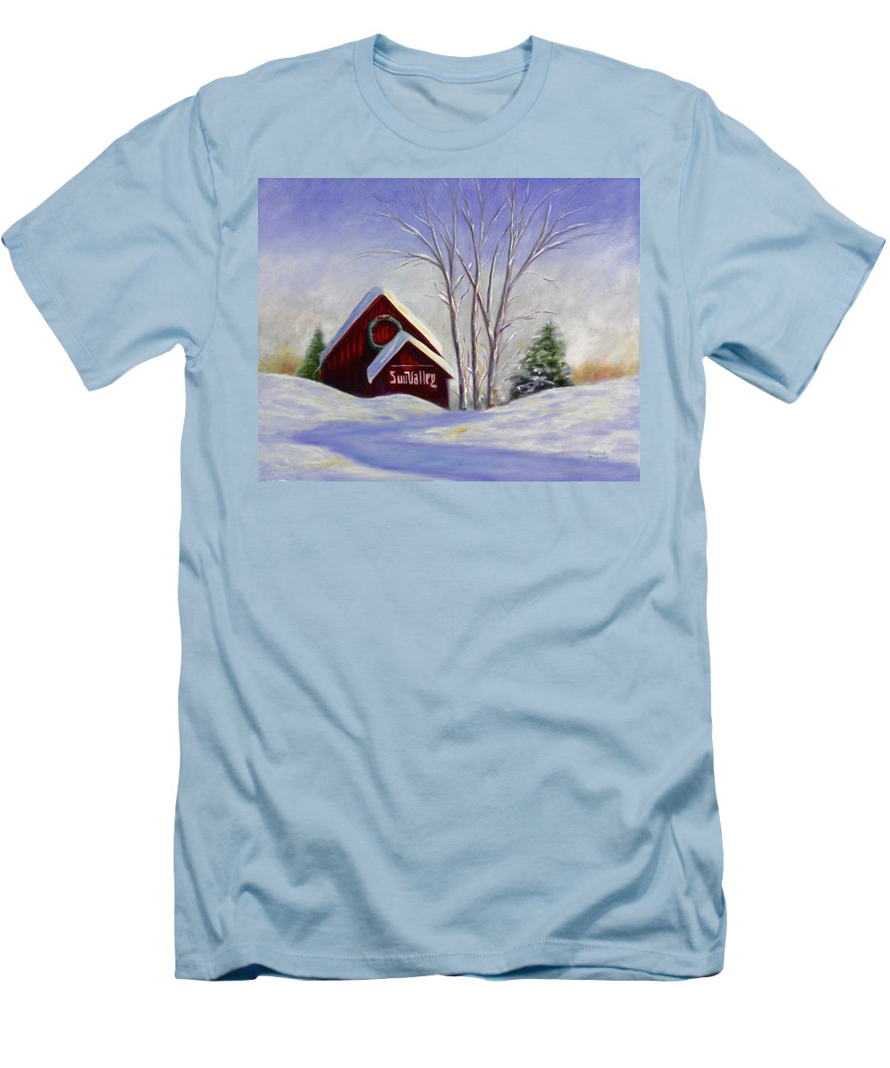 Landscape White Men's T-Shirt (Athletic Fit) featuring the painting Sun Valley 1 by Shannon Grissom
