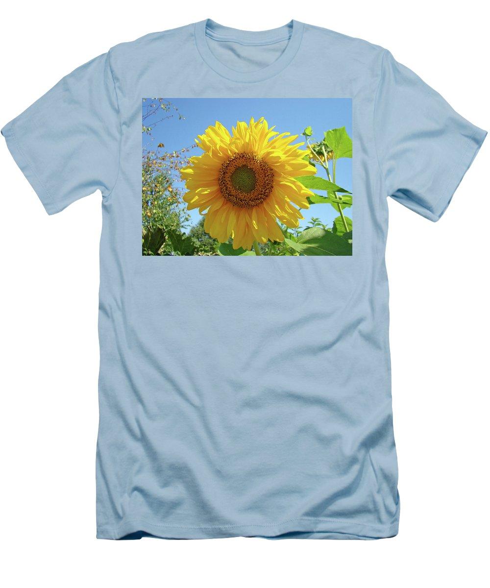 Sunflower Men's T-Shirt (Athletic Fit) featuring the photograph Sunflower Art Prints Sun Flower 2 Giclee Prints Baslee Troutman by Baslee Troutman