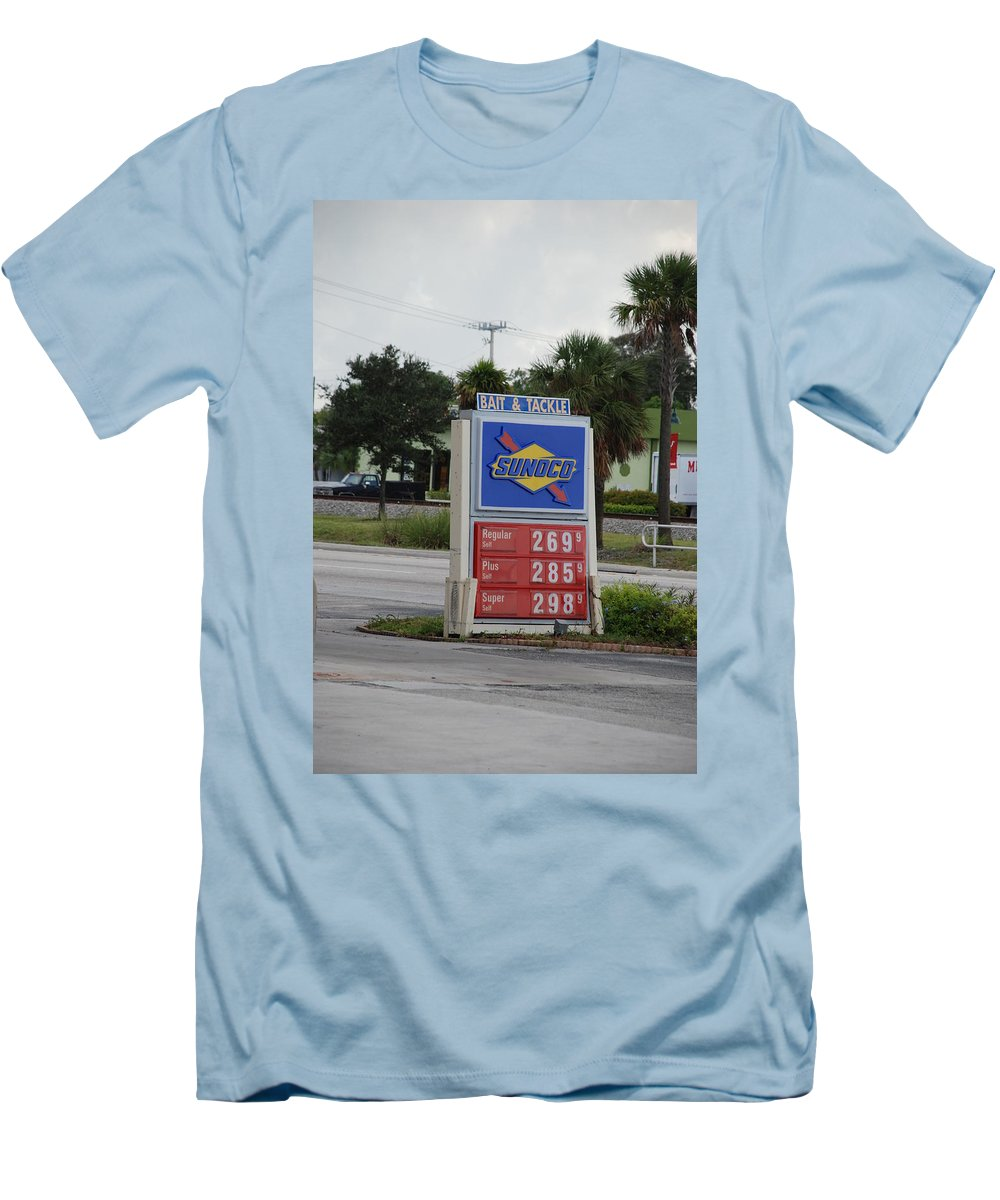 Gas Station Men's T-Shirt (Athletic Fit) featuring the photograph Sunoco Bait And Tackle by Rob Hans