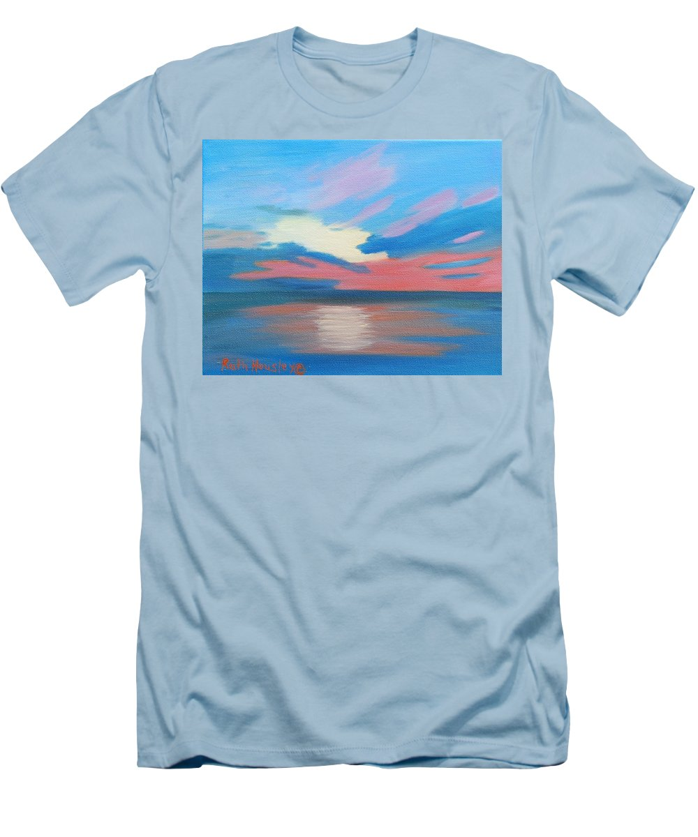 Fine Art Men's T-Shirt (Athletic Fit) featuring the painting Sunrise Over Ocean City Maryland by Ruth Housley