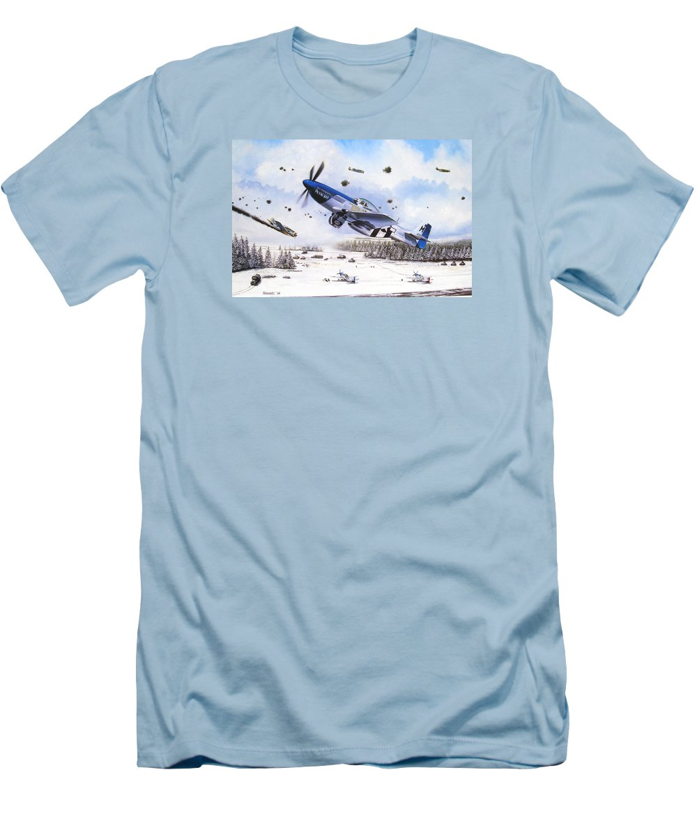 Aviation Men's T-Shirt (Athletic Fit) featuring the painting Surprise At Asch by Marc Stewart