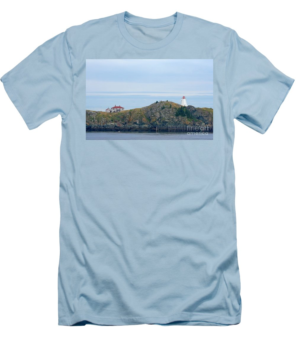 Lighthouse Men's T-Shirt (Athletic Fit) featuring the photograph Swallowtail Lighthouse And Keeper by Thomas Marchessault