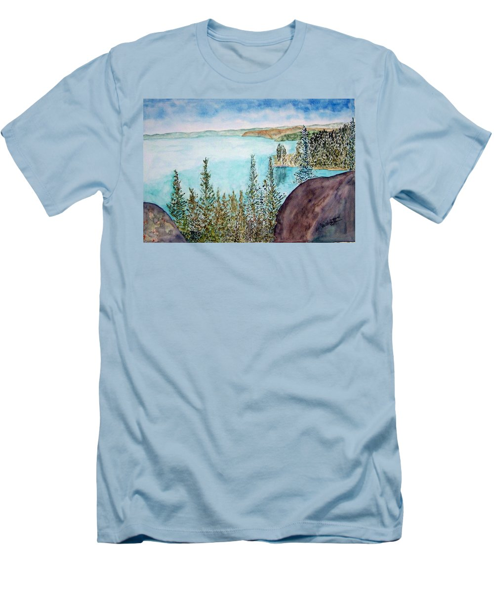 Tahoe Men's T-Shirt (Athletic Fit) featuring the painting Tahoe Remembered by Larry Wright