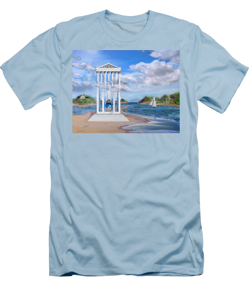 Landscape Men's T-Shirt (Athletic Fit) featuring the painting Temple For No One by Steve Karol